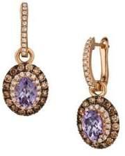 LeVian Le Vian 14K Strawberry Gold, Grape Amethyst, Vanilla Diamonds & Chocolate Diamonds Earrings