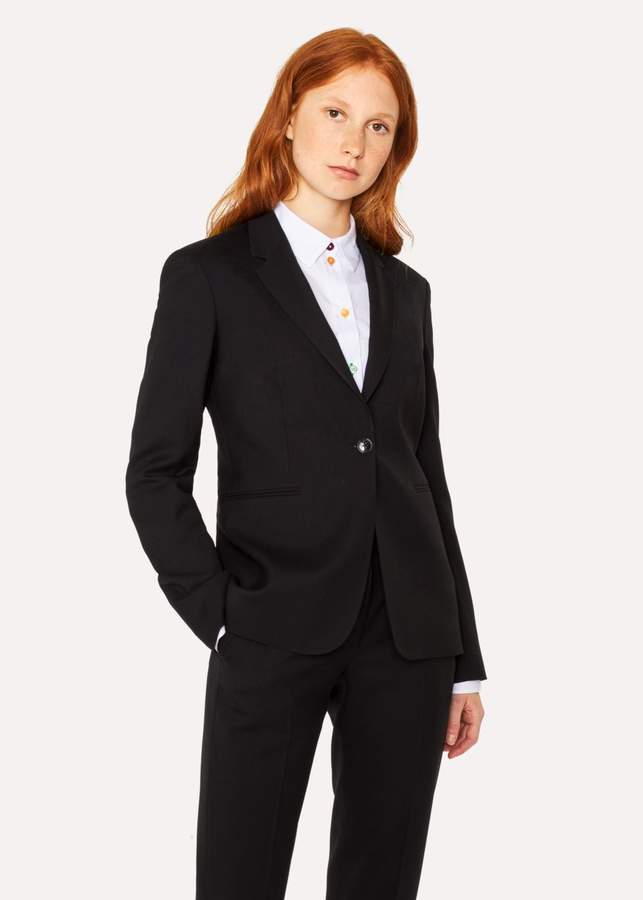 A Suit To Travel In - Women's Black One-Button Wool Blazer