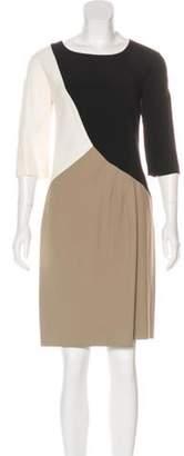 Etro Color Block Knee-Length Dress Beige Color Block Knee-Length Dress