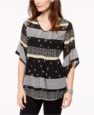 Style&Co. Style & Co Petite Mixed-Print Pintucked Top, Created for Macy's