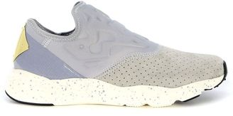 Reebok Furylite Slip On Sneaker In Elastic Neoprene And Grey Suede $89 thestylecure.com