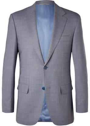 Canali Blue Puppytooth Wool Blazer