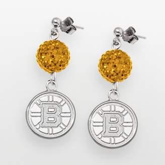 Logoart LogoArt Boston Bruins Sterling Silver Crystal Ball Drop Earrings