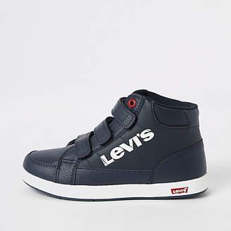 Levi's Boys navy velcro hi top sneakers