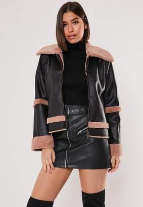 Missguided Black Crop Zip Front Aviator Jacket