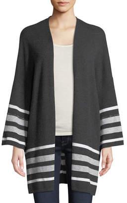 Neiman Marcus Cashmere Striped Oversized Cardigan