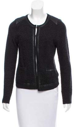 Comptoir des Cotonniers Vegan Leather-Trimmed Knit Cardigan