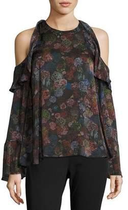 IRO Ciclan Cold-Shoulder Floral-Print Silk Top