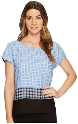 Vince Camuto Veranda Tile Print Extend Shoulder Blouse Women's Blouse