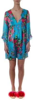 Leitmotiv Short Floral Ruffled Dress In Viscose