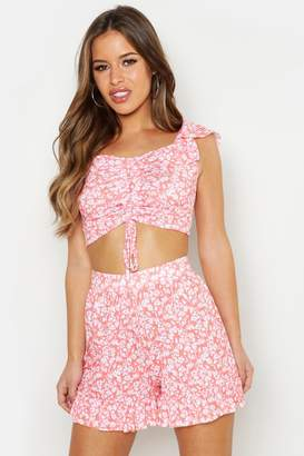 boohoo Petite Floral Bardot Ruched Front Top
