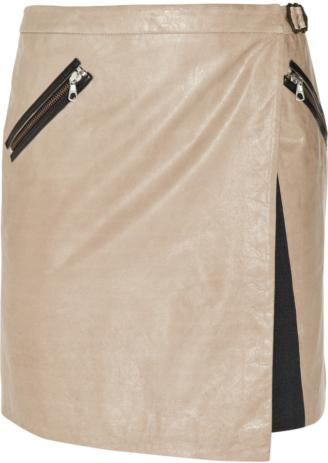Rag & bone Brixton asymmetric leather wrap mini skirt