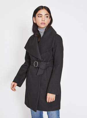 Miss Selfridge Petite black wrap coat