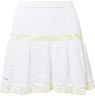 L'Etoile Sport - Striped Pointelle-knit Tennis Skirt - White