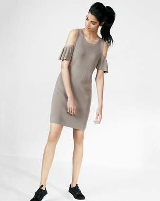 Express Cold Shoulder Flutter Sleeve Sweater Dress