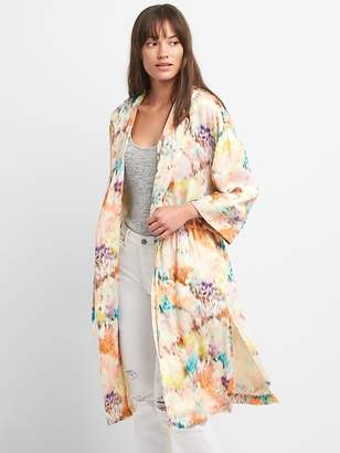 Gap Hooded Print Kimono Jacket in Satin
