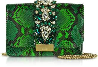Gedebe Cliky Python Emerald Jungle Clutch w/Crystals