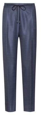 HUGO Boss Relaxed-fit pants in stretch fabric drawstring waist 6 Open Blue