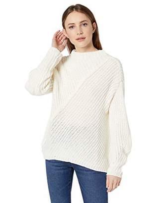 William Rast Women's Robbin Oversize Mock Neck Sweater, Ivory, X