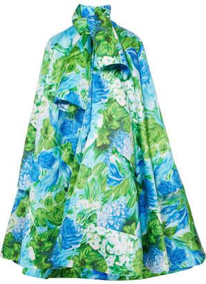 Richard Quinn - Oversized Floral-print Duchesse-satin Coat - Azure