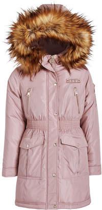DKNY Big Girls Smocked-Waist Parka With Faux-Fur Trim