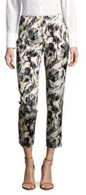Lafayette 148 New York Stanton Abstract-Print Cropped Pants