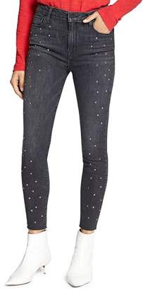 Sanctuary High Rise Embellished Ankle Jeans in Black Out