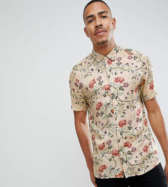 Asos Design DESIGN Tall regular fit floral satin shirt in off white
