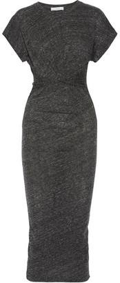 IRO - Pacson Twist-front Mélange Cotton And Modal-blend Dress - Dark gray $180 thestylecure.com