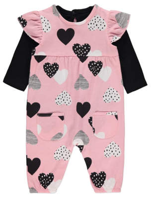 George Pink Love Heart Print Dungarees and Bodysuit Outfit