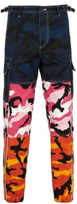 Valentino Camouflage-print panelled trousers