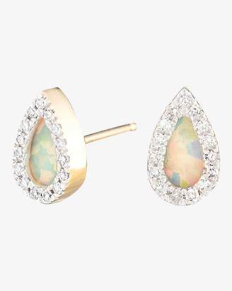 Adina Opal and Diamond Teardrop Post Earrings