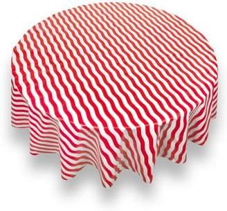 "Carnation Bold Stripe Red Premum Quality Vinyl Flannel Back Tablecloth 70"" Round"