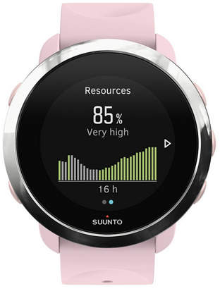 Suunto 3 Fitness Watch, Sakura Pink Silicone Band, Stainless Steel Bezel with a Digital Dial