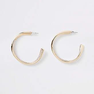 River Island Gold tone rhinestone pave chunky hoop earrings
