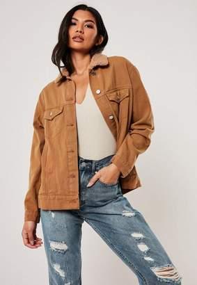 Missguided Tan Borg Collar Oversized Denim Jacket
