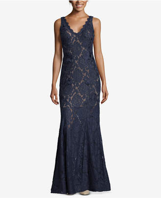 Betsy & Adam Lace V-Back Gown