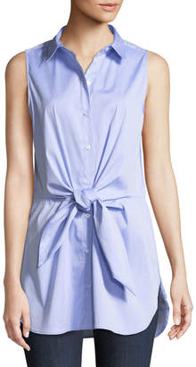 Iconic American Designer Tie-Front Sleeveless Blouse