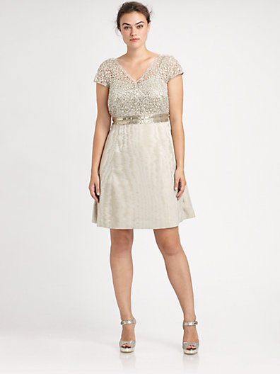 Kay Unger Kay Unger, Salon Z Lace/Sequin Cap-Sleeve Dress