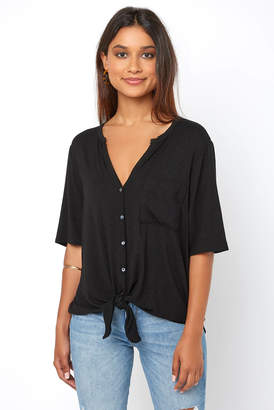Matty M Tie Front Button Down Tee