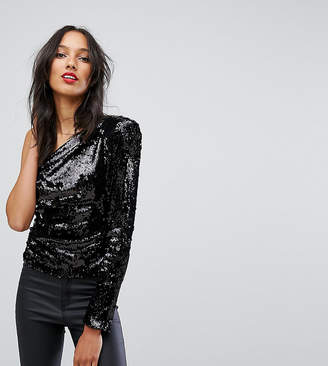 Asos Tall TALL Ultimate Sequin One Shoulder Top