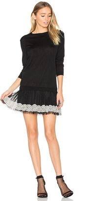 Red Valentino Long Sleeve Tulle Mini Dress $675 thestylecure.com