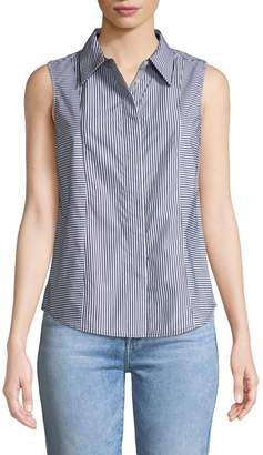 Iconic American Designer Sleeveless Striped Wrinkle-Free Blouse