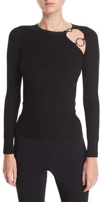 CUSHNIE Sienna Knit Cutout Long-Sleeve Top