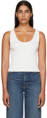 Amo White Cropped Rib Tank Top