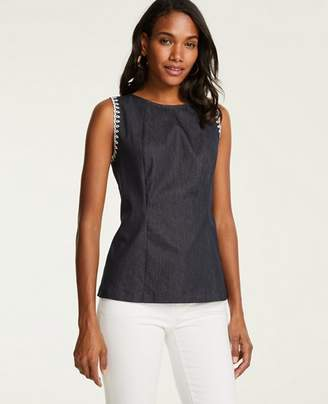 Ann Taylor Petite Embroidered Denim Shell