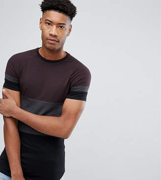 Asos DESIGN TALL Longline muscle fit T-Shirt In Color Block