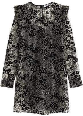 Ruffle-Trimmed Flocked Metallic Lace Mini Dress