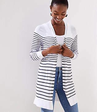 LOFT Striped Sheer Open Cardigan