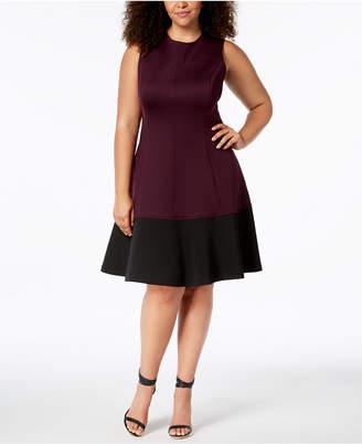 Calvin Klein Plus Size Colorblocked A-Line Dress